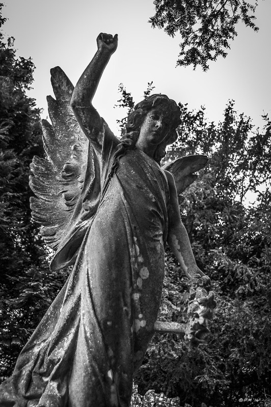 Carved stone angel with lichen. All Saints Church Graveyard Marcham Oxfordshire UK. Monochrome Portrait. © P. Maton 2014 eyeteeth.net