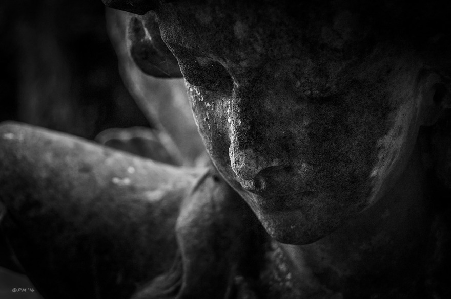 Carved stone angel face with lichen. All Saints Church Graveyard Marcham Oxfordshire UK. Monochrome Landscape. © P. Maton 2014 eyeteeth.net