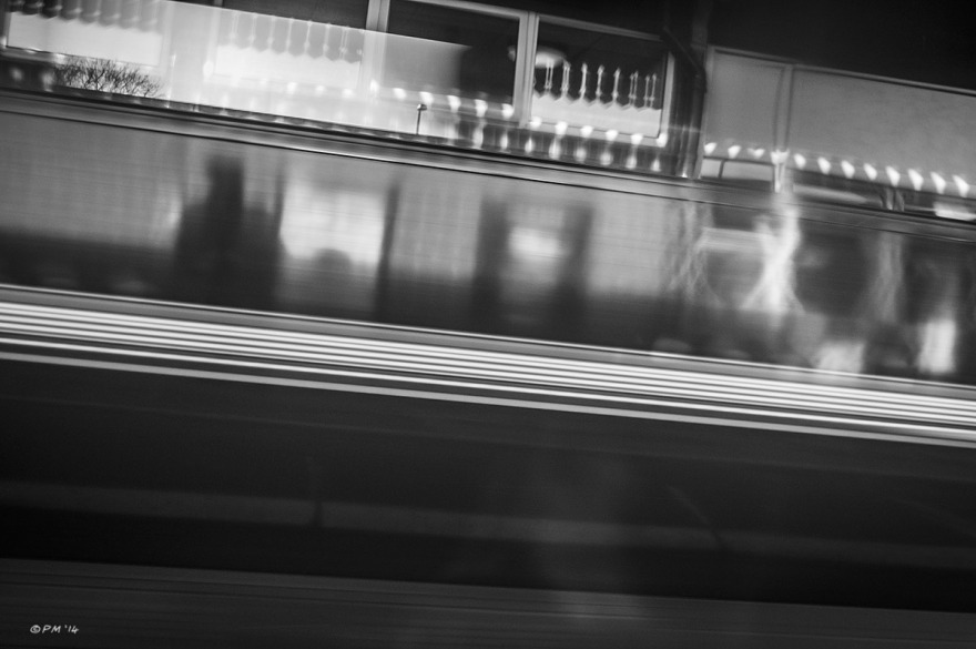 Abstract, train passing with motion blur and shadow of person on platform. Didcot Station Oxfordshire UK. Monochrome Landscape. © P. Maton 2014 eyeteeth.net