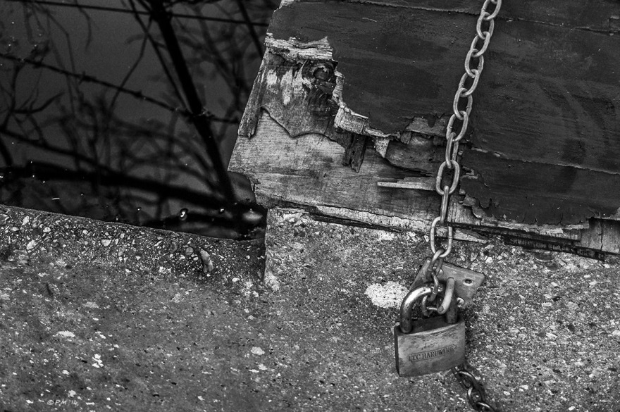 Abstract detail of concrete water trough with weathered wood and felt top, chain, padlock and trees reflected in water.  Mortimer Berkshire. Monochrome Landscape. © P. Maton 2014 eyeteeth.net
