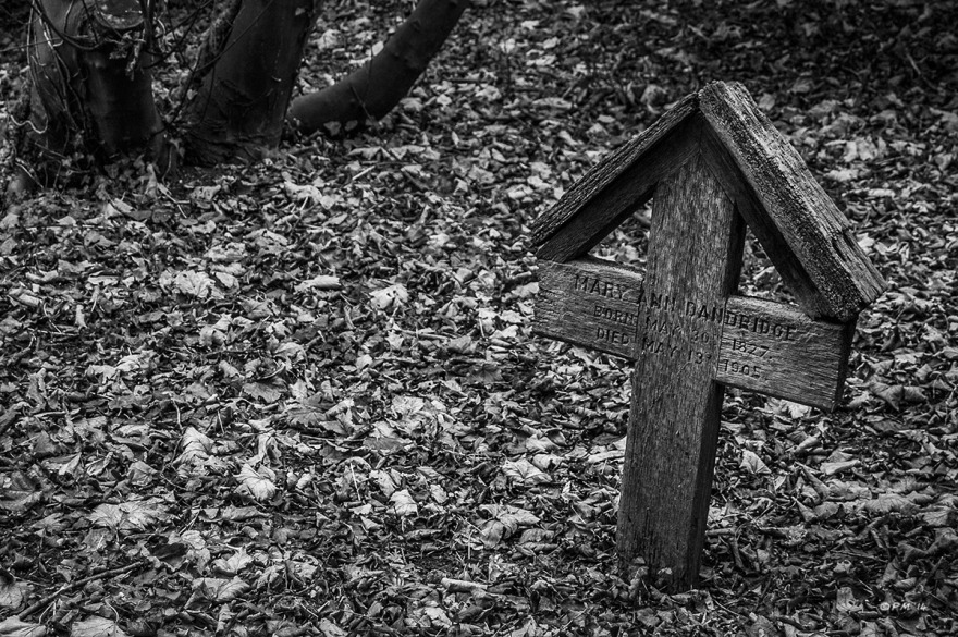 Wooden cross marking grave of Mary Ann Dandridge born 1827 died 1905. All Saints Church Graveyard Marcham Oxfordshire UK. Monochrome Landscape. © P. Maton 2014 eyeteeth.net