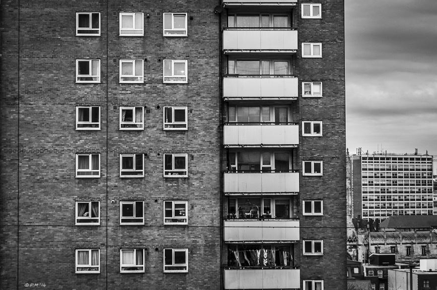 Tower block with balconies on John Street Brighton UK. Monochrome Landscape.  P. Maton 2014 2015 eyeteeth.net
