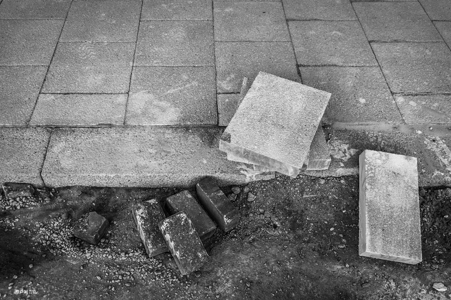Paving slabs and curb stones in the process of being laid. Edward Street, Brighton UK. Monochrome Landscape. © P. Maton 2015 eyeteeth.net
