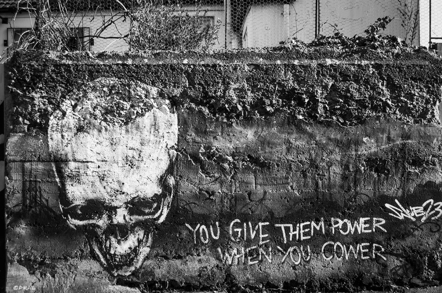 Skull Graffiti on rough wall with words 'You Give Them Power When You Cower' by Snub23. Trafalgar Lane, Brighton UK. Monochrome Landscape. © P. Maton 2015 eyeteeth.net