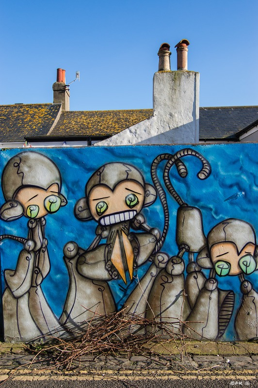 Bundle of things in front of Robot Monkeys Graffiti on wall with house roofs and chimneys below blue sky in background.  Trafalgar Lane, Brighton UK. Colour Portrait. © P. Maton 2015 eyeteeth.net