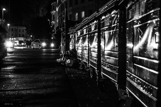 Car lights reflected in recycling bins at night on Vernon Terrace, Brighton UK. Monochrome Landscape. © P. Maton 2015 eyeteeth.net