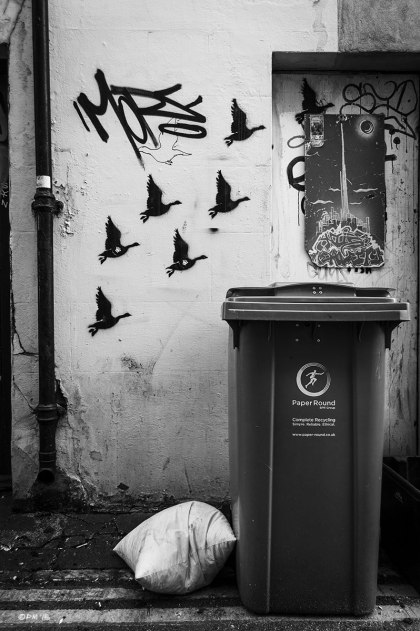 Flying geese stencil art graffiti on wall next to rubbish bin. Orange Row, North Laine Brighton UK. Monochrome Portrait. © P. Maton 2015 eyeteeth.net
