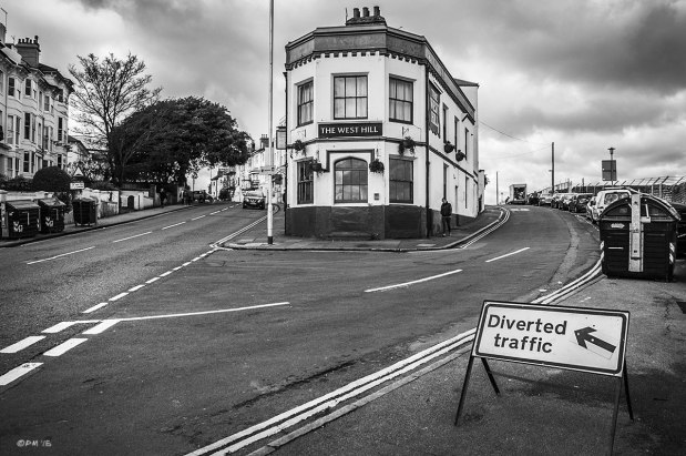 The Wast Hill Pub with road junction and Diverted Traffic sign in foreground. Brighton UK. Monochrome Landscape. © P. Maton 2015 eyeteeth.net