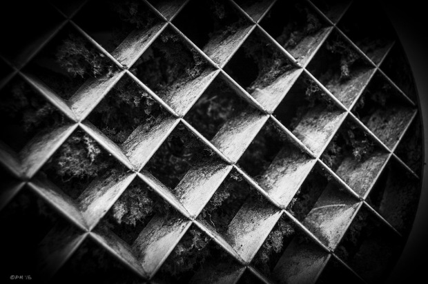 Dusty ventilator grille. Abstract. Monochrome Landscape. © P. Maton 2015 eyeteeth.net