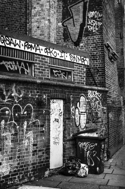 Victorian brick walls with door and graffiti, dustbin rubbish and viaduct. Monochrome Portrait.  © P. Maton 2015 eyeteeth.net