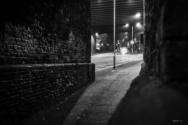 Light cast from street lamps under viaduct flooding down brick walled passage. New England Road, Brighton UK. Monochrome Landscape. © 2015 P. Maton eyeteeth.net