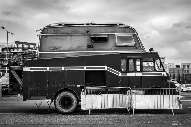 Green Goddess Fire engine with caravan top conversion into mobile home. Side view . Hove Street Hove UK. Monochrome Landscape. © P. Maton 2015 eyeteeth.net
