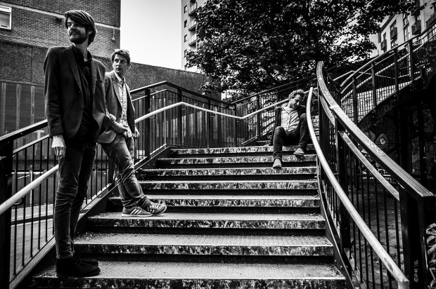 Sam, Boris and Shervin. Three men on stairs . New England Street Brighton UK. Urban monochrome landscape. © P. Maton 2015 eyeteeth.net