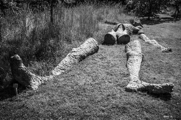 A Dismembered God Surrealist Sculpture in garden at Farley Farm House Chidingly East Sussex home of Roland Penrose and Lee Miller. Monochrome Landscape. © P. Maton 2015 eyeteeth.net