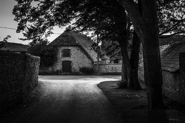 Old flint barn, Burning Sky Brewery building seen from  tree lined lane opposite. Fire East Sussex. Monochrome Landscape. © P. Maton 2015 eyeteeth.net