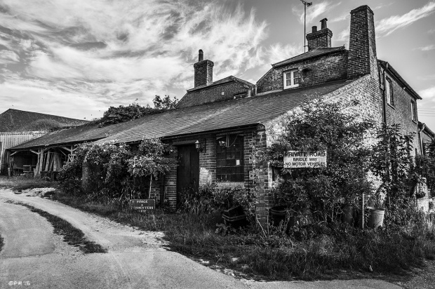 Forge and Carpenters buildings in Firle East Sussex . Monochrome Landscape. © P. Maton 2015 eyeteeth.net