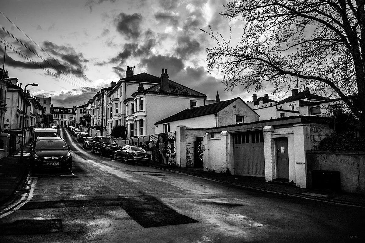Evening landscape view up York Villas on wet day from bottom of hill. Brighton urban street scene. © P. Maton 2015 eyeteeth.net