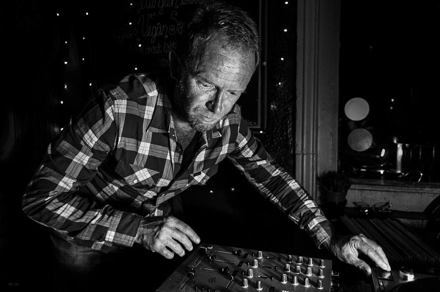 Chatham Hi-Fi DJing at Shakespeares Head Brighton 12/08/16  black and white nightlife portrait of man using DJ mixer.  © P. Maton 2016 eyeteeth.net