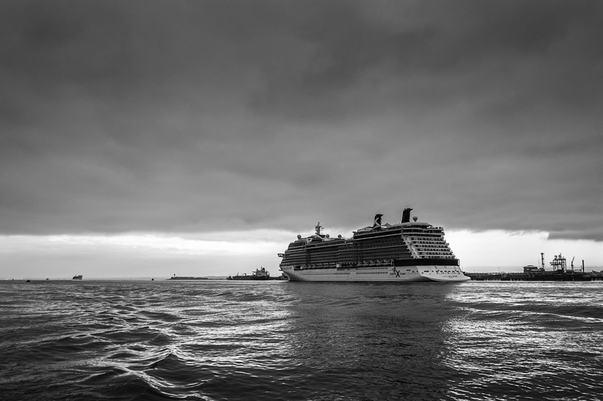 Cruise ship, Southampton Water UK. black and white landscape, seascape. © P. Maton 2016 eyeteeth.net