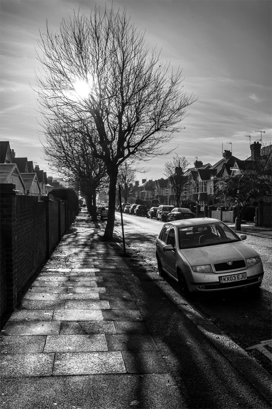 Hove, Sussex, Street, Braemore Road, UK, Britain, monochrome, Winter, December, urban, pavement, sun, silhouette, black and white, atmospheric, haze,. © P. Maton 2016 eyeteeth.net