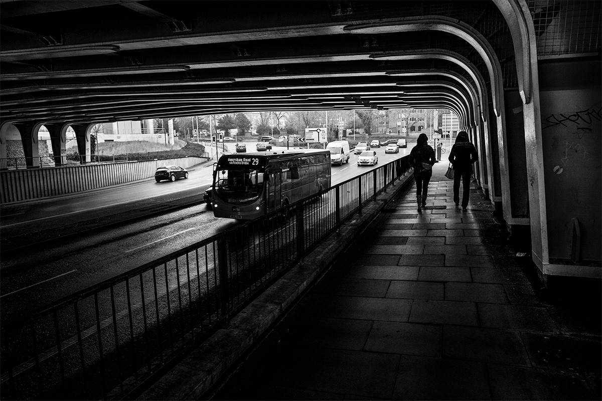 View of underpass on Vastern Road Reading Berkshire UK on winter day. Black and white urban landscape. © P. Maton 2017 eyeteeth.net