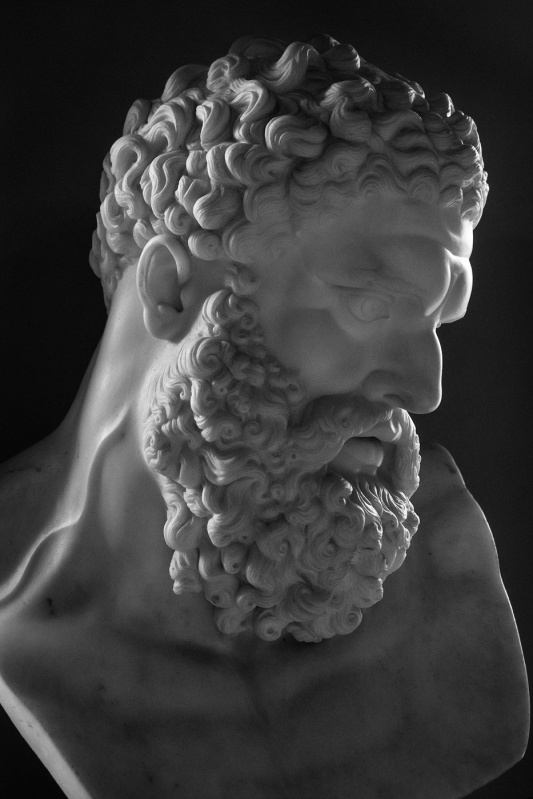 Bust of Farnese Hercules at Ickworth House Suffolk Uk black and white portrait photograph  P. Maton 2017 eyeteeth.net