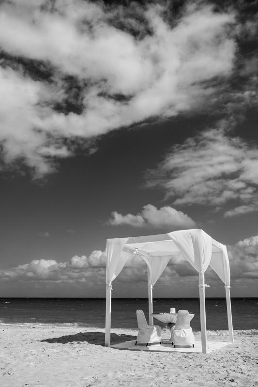 Gazebo with chairs beach wedding Playa Mujeres Cancun Mexico, black and white photograph portrait landscape  © P. Maton 2017 eyeteeth.net