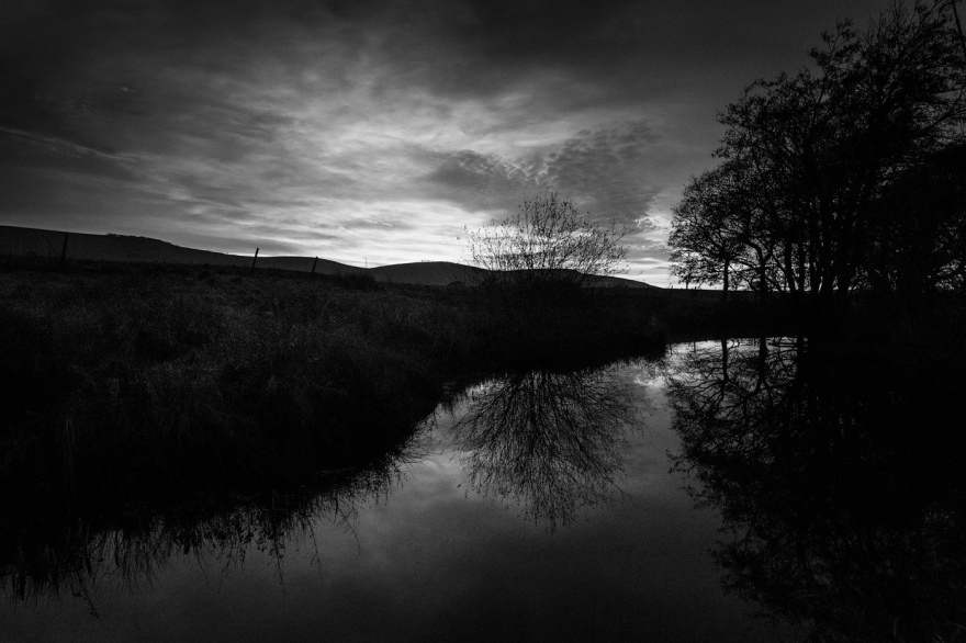 sunset over South Downs reflected in millpond, Mill Lane Poynings West Sussex black and white dusk landscape photograph © P. Maton 2017 eyeteeth.net