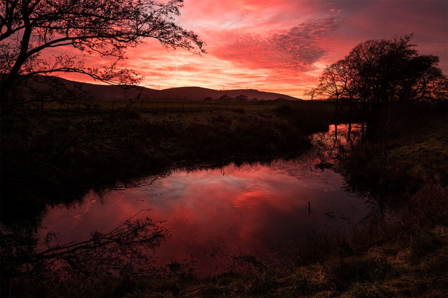 Red sunset over South Downs reflected in millpond, Mill Lane Poynings West Sussex dusk landscape photograph © P. Maton 2017 eyeteeth.net