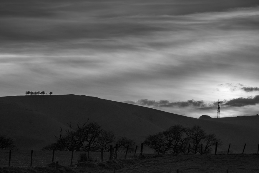 Sundown dusk view from Mill Lane Poynings to Edburton Hill and Truleigh Hill South Downs Way West Sussex UK black and white rural landscape © P. Maton 2018 eyeteeth.net