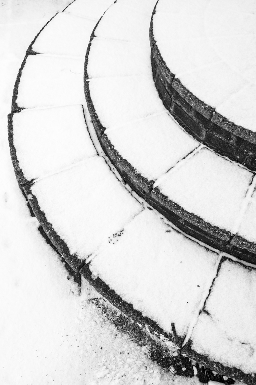 Abstract composition of snow covered steps, Poynings West Sussex UK black and white photograph © P. Maton 2018 eyeteeth.net