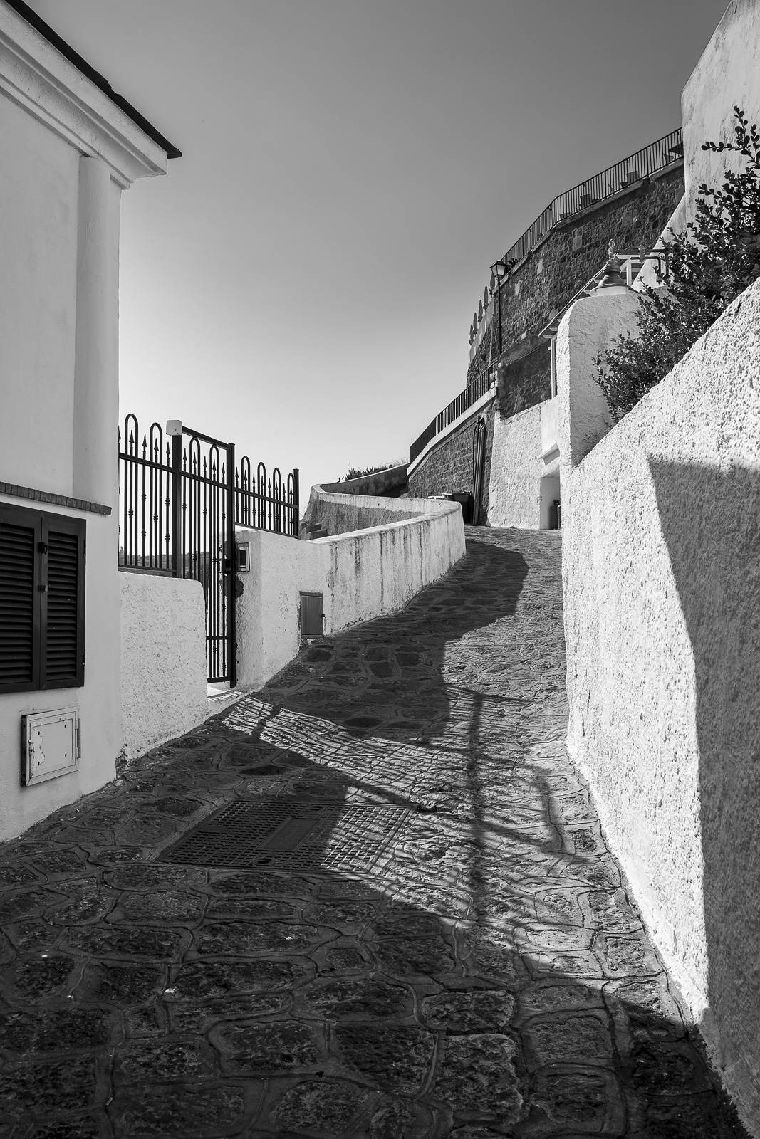 Narrow flag stone street meandering up hillside with whitewashed buildings on either side Provinciale Succhivo Sant'Angelo, Sant'Angelo Italy black and white monochrome rustic street portrait composition © P. Maton 2018 eyeteeth.net