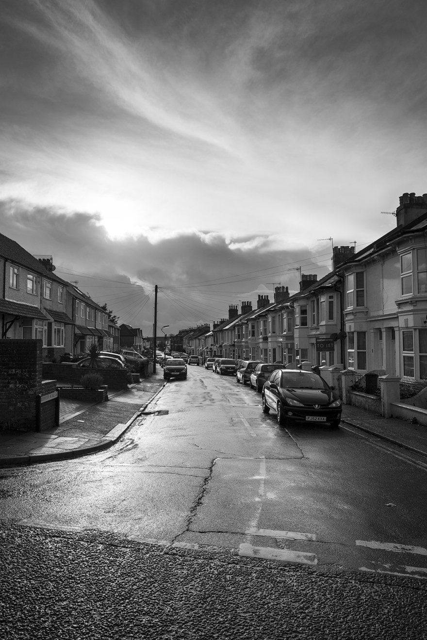 Abinger Road, Portslade, West Sussex UK, dramatic clouds and sunlight after rain, black and white urban landscape documentary photograph ©P. Maton 2018 eyeteeth.net
