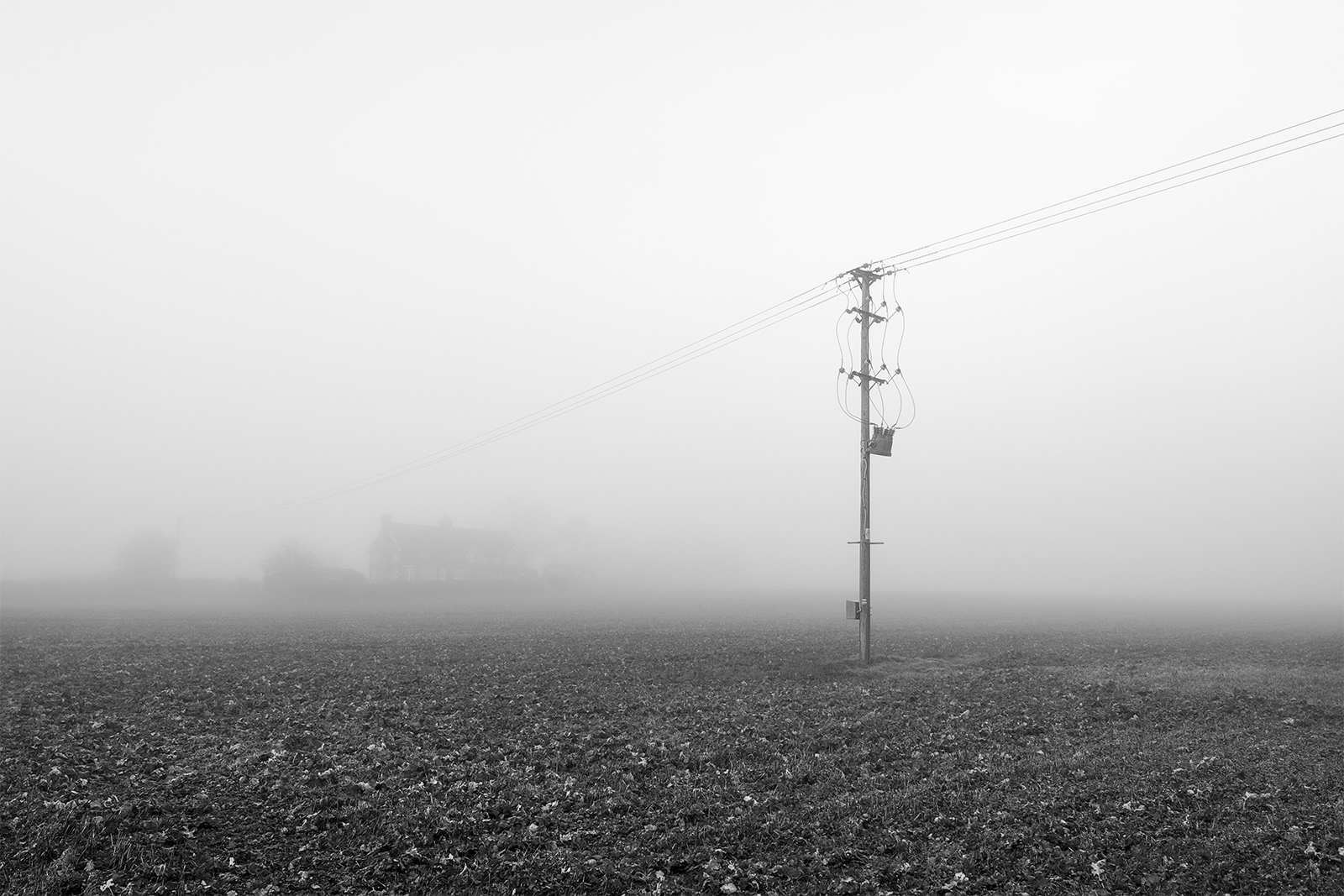 Telegraph pole power lines in field surrounded by fog with house in distance, Stratfield Mortimer Berkshire UK black and white landscape composition nature rural countryside documentary photograph ©P. Maton 2018 eyeteeth.net