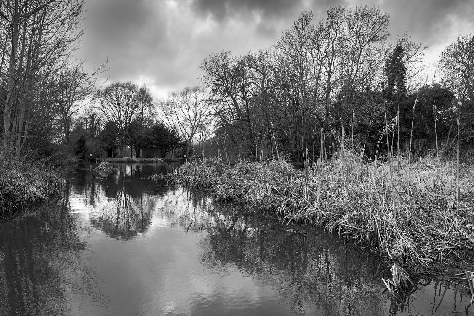 Winter view downstream along river Ouse at East Sussex UK black and white rural landscape ©P. Maton 2019 eyeteeth.net