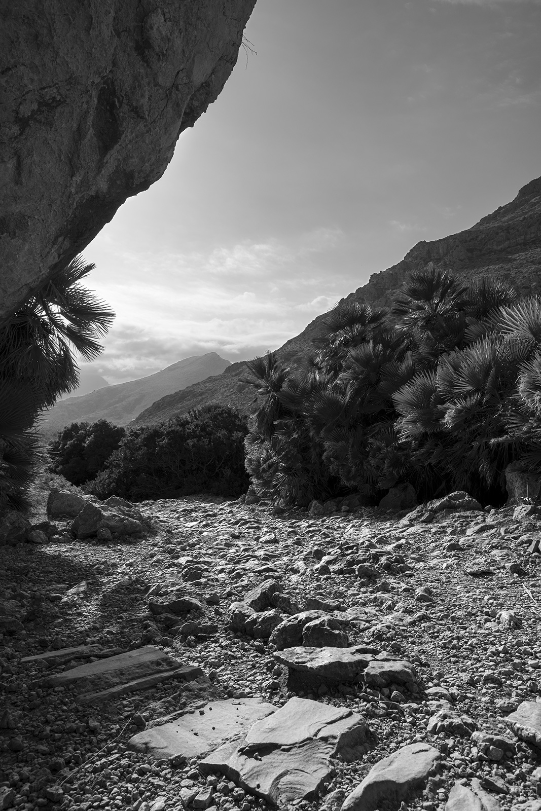 Rocky path under overhanging cliff by mediterranean plants and mountains in background, black and white landscape portrait Boquer Valley Mallorca Spain ©P.Maton 2019 eyeteeth.net