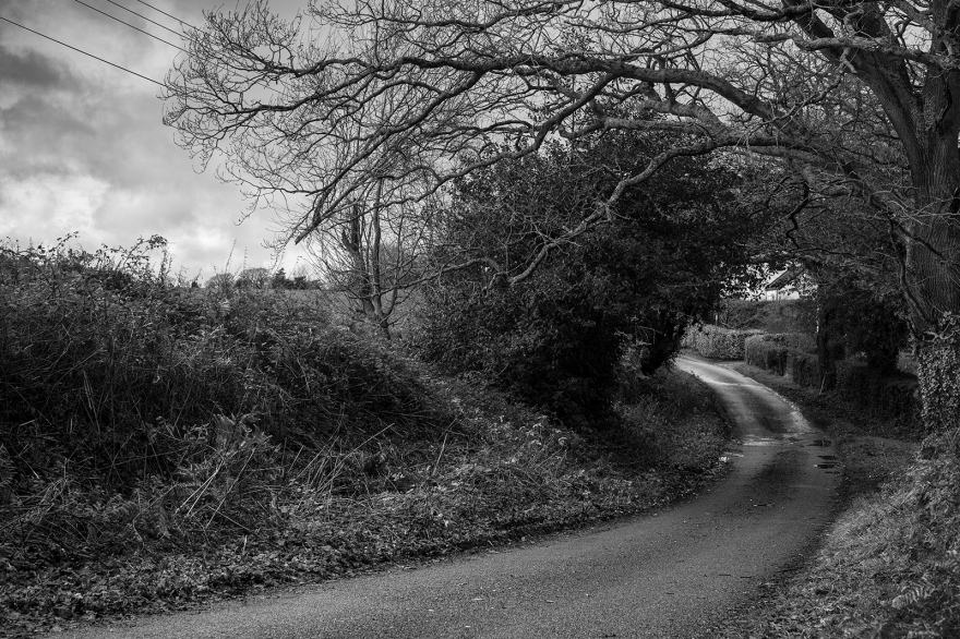Black and white rural landscape of Drury Lane Stratfield Mortimer Berkshire UK ©P. Maton 2019 eyeteeth.net